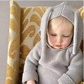 Camisola infantil Roupa Dos Miúdos 2016 Crianças Blusas Roupas Orelhas de Coelho Do Bebê Das Meninas Dos Meninos Camisola de Algodão Com Capuz Inverno Malhas