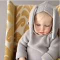 Infant Sweater Kids Clothes 2016 Children Clothing Sweaters Rabbit Ears Baby Boys Girls Sweater Hooded Cotton Knitwear Winter