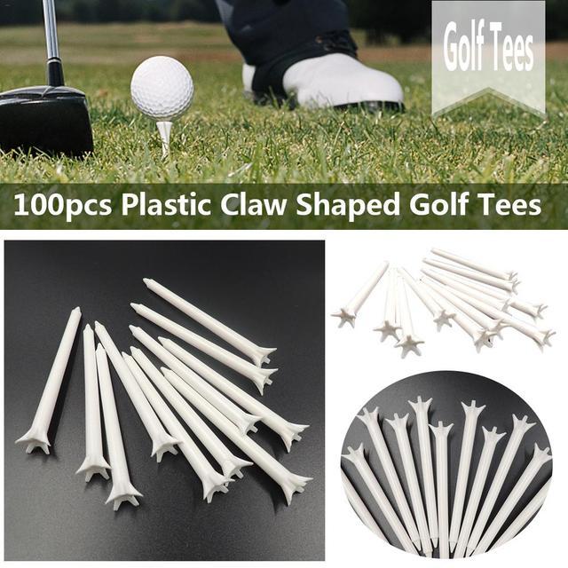 """100 יחידות 70 מ""""מ/83 מ""""מ חיצוני חמישה טפרים פלסטיק גולף Tees ספורט ציוד גולף כדור מחזיק גולף אבזר"""