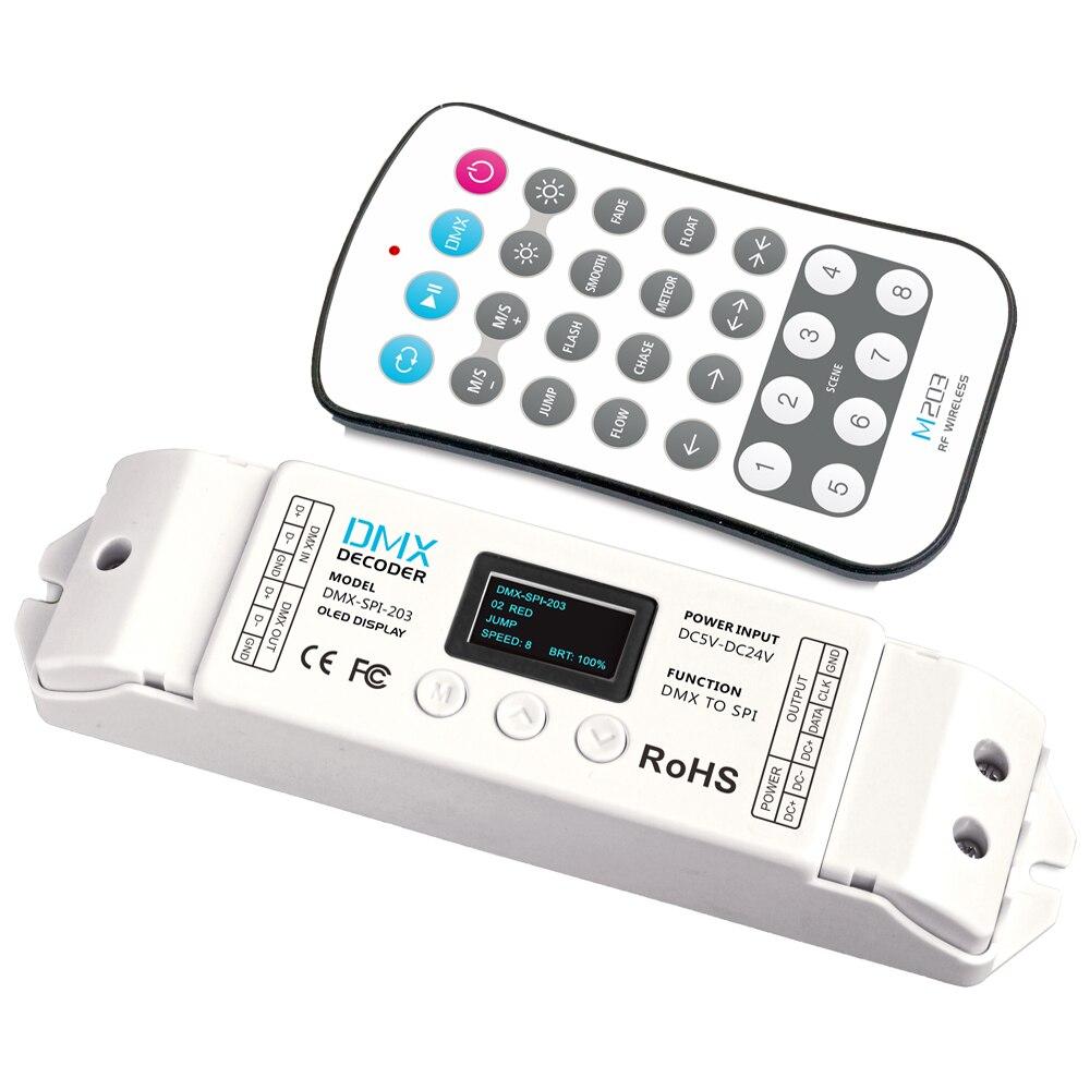 DMX-SPI-203; décodeur de contrôleur de signal DMX à SPI (TTL) 1024 Pixels pour LPD6803/WS2811/WS2812B/LPD6803 LED lumière de bande avec télécommande