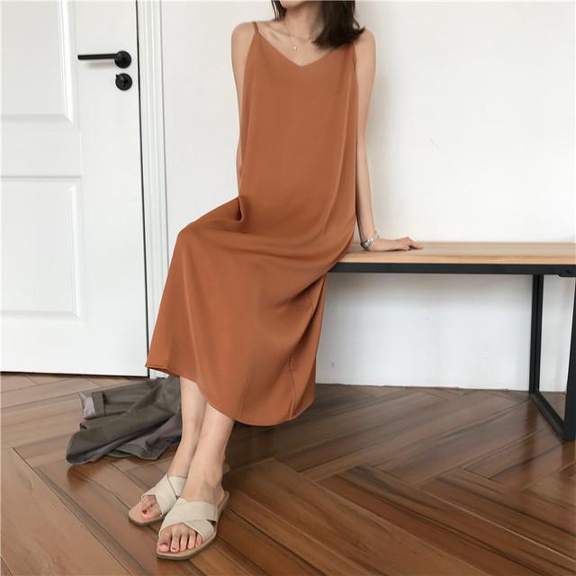 Sexy Women Maxi Dress Loose Sleeveless Dresses V-neck Sling Long Black Party Dress