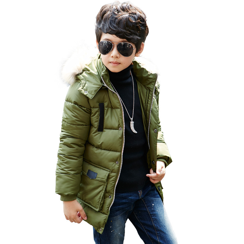 2017new Children Boys thick warm winter jacket hooded coat with Fur 5 14Medium long Winter Coat