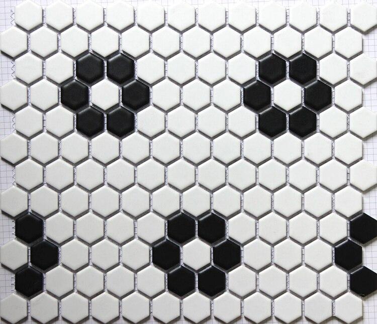 23mm Matt Black White Hexagonal Ceramic Mosaic Tile Kitchen Backsplash Swimming Pool Bathroom Floor Tiles Wall In Making From Home Garden