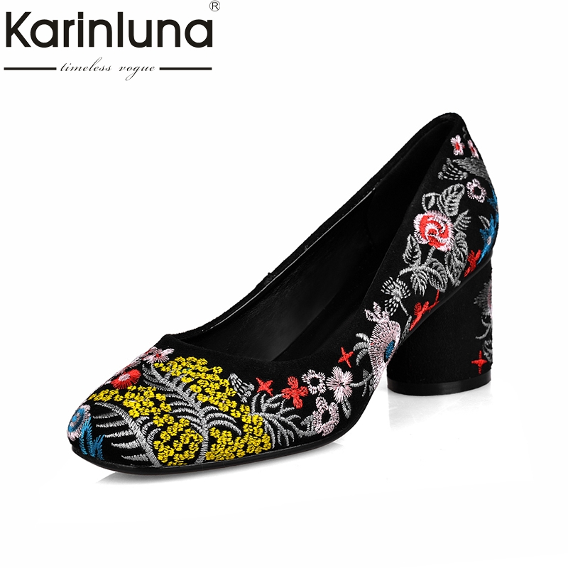 KARINLUNA Large Size 34-43 Ethnic Style Embroidery Cow Suede Leather Woman Shoes Women Flowers High Heels Lady Pumps a three dimensional embroidery of flowers trees and fruits chinese embroidery handmade art design book
