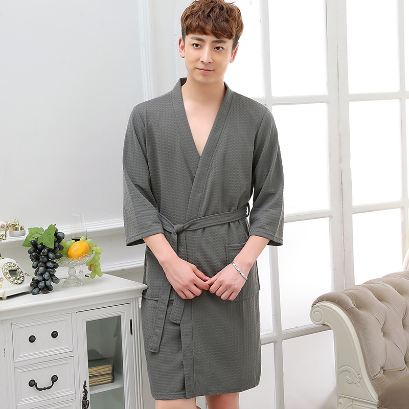 Hot Selling Men Summer Suck Water Waffle Bathrobe Male Plus Size Kimono Bath Robe Sexy Robes Mens Dressing Gown Bathrobes