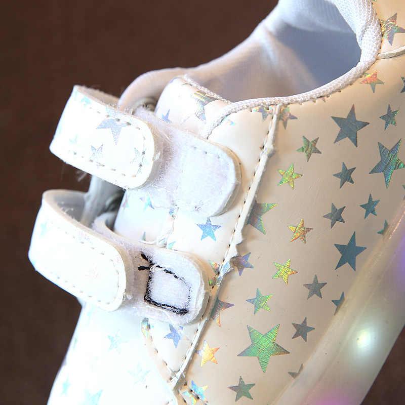 CMSOLO รองเท้าผ้าใบยางรองเท้าไฟเด็กทารกเด็กผู้หญิงรองเท้าหนังเทียมเด็กชายคุณภาพ 2018 สีชมพูสีขาวรองเท้าผ้าใบร้อน