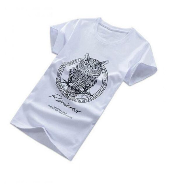 Fashion Men Cotton Short Sleeve T-shirt Owl Print Summer Casual Night Bird O-neck T-shirts Tee Tops AE74