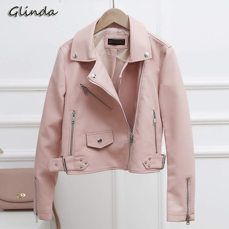 2019 Motorcycle Faux Pu   Leather   Jacket Women Slim Short Coat Fashion Turn-down Collar Zipper Ladies   Leather   Jackets Outerwear