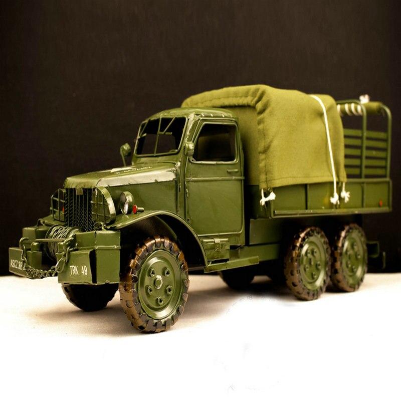 Haute simulation fait à la main en métal militaire véhicule camion voiture collection modèles rétro décor chambre maison bar club pub décoration