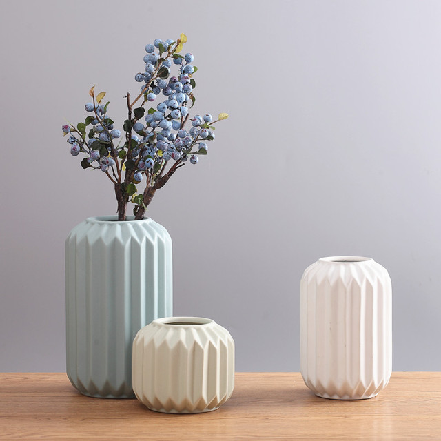 New modern ceramic vase flower pot white nordic creative for Modern living room vases