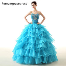 Forevergracedress 2017 Real Pictures Turquoise Quinceanera Dress Sexy Long Ruffles Beaded Backless Formal Party Gown Plus Size