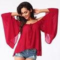 2017 Новый Женщины Повседневная Блузки Летняя Мода Спагетти Ремень С Плеча Топы Плюс Размер Женщины Свободные Шифон Blusas Рубашка