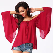 2017 New Women Casual Blouses Summer Fashion Spaghetti Strap Off Shoulder Tops Plus Size Female Loose Chiffon Blusas Shirt