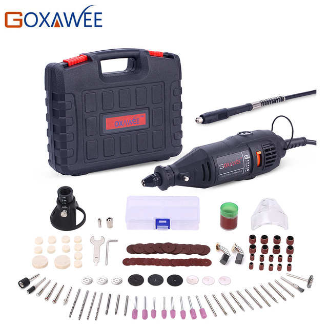 GOXAWEE 110V 220V Utensili Elettrici Elettrico Mini Trapano Con 0.3-3.2mm universale Mandrino E Shiled Rotary Strumenti kit Per Dremel 3000 4000 1