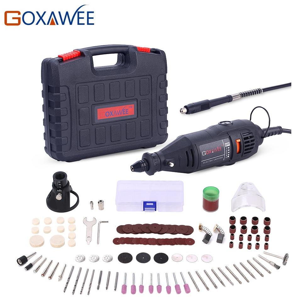 Goxawee 220 v ferramentas elétricas mini broca elétrica com 0.3-3.2mm universal chuck & shilled kit de ferramentas giratórias conjunto para dremel 3000 4000