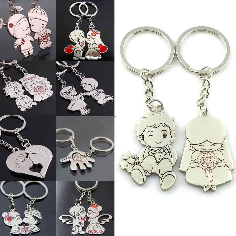 цена LNRRABC Fashion 1 Pair/Set Women New Couple Key Ring Cartoon Lover Keychain Valentines Gift 9 Style