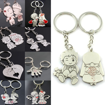 LNRRABC Fashion 1 Pair/Set Women New Couple Key Ring Cartoon Lover Keychain Valentines Gift 9 Style