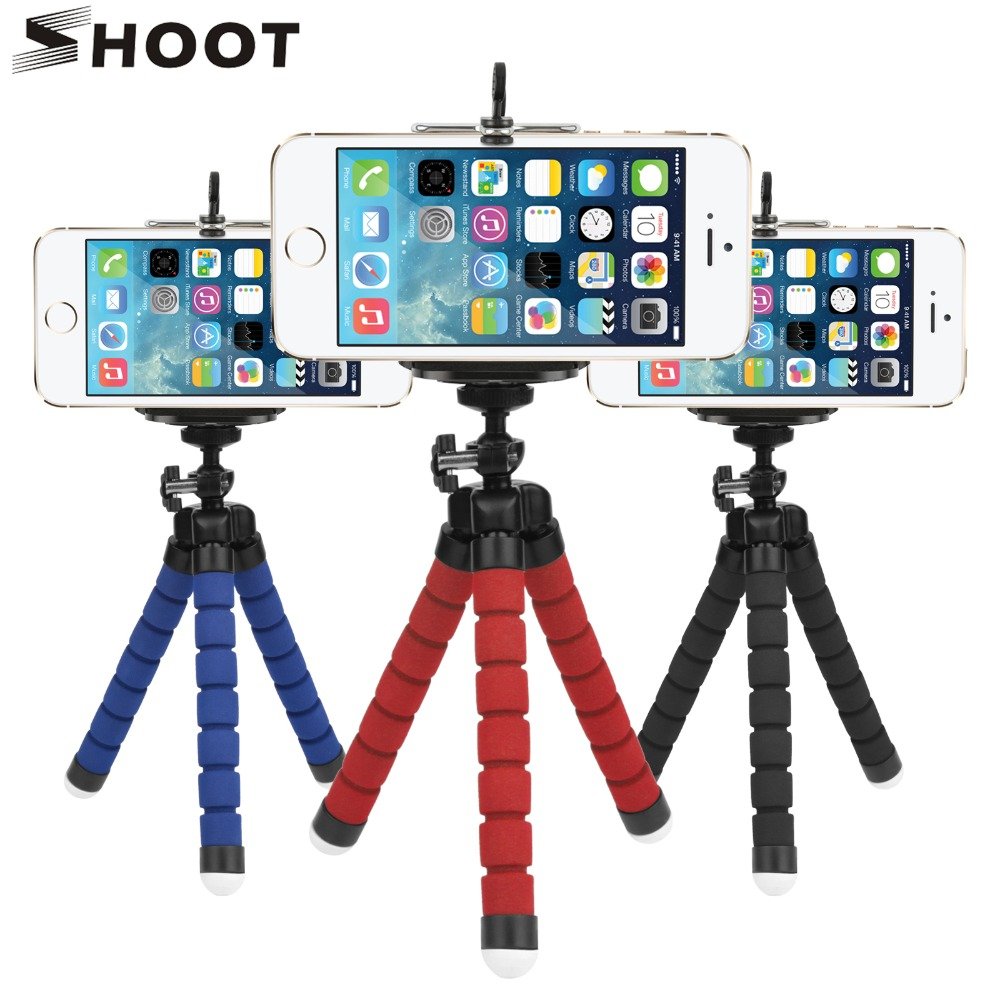 SHOOT Mini Octopus Tripod Stand Holder for Phone With Phone Clip Mount for iphone X 7 6 Samsung S9 S8 Xiaomi GoPro Action Camera universal cell phone holder mount bracket adapter clip for camera tripod telescope adapter model c