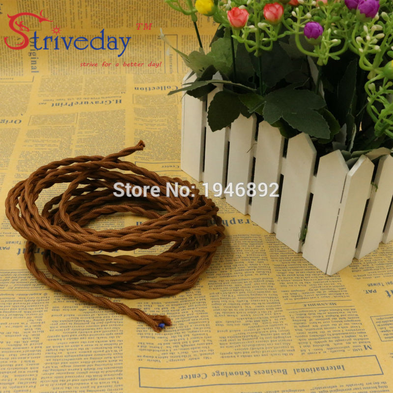 5m/lot 2x0.75 Brown Color Vintage rope Wire Twisted <font><b>Cable</b></font> Retro Braided Electrical Wire Fabric Wire DIY Pendant Lamp Wire Lamp image