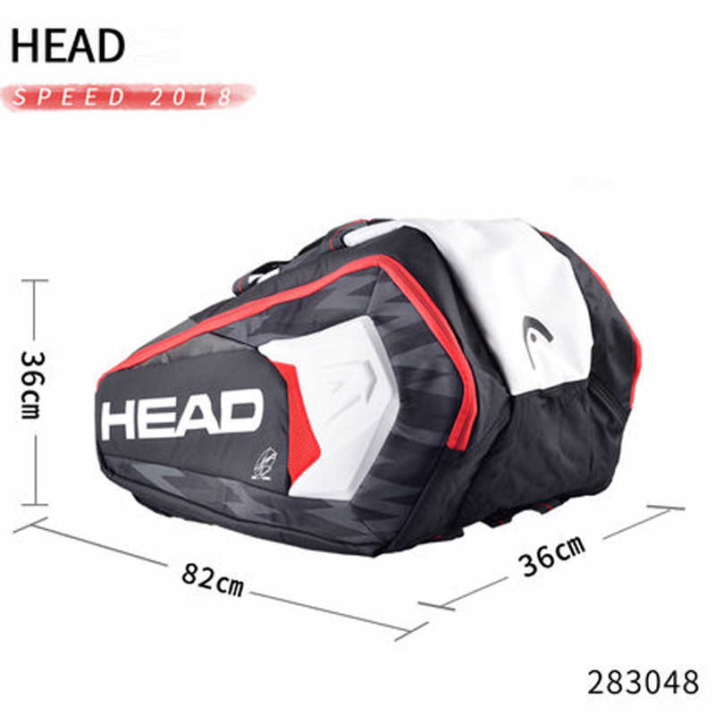 Head Tennis Bag Djokovic Original Tennis Racket Bag Double Shoulder Bag Can Hold 9 Tennis Rackets Large Capacity Tennis Backpack