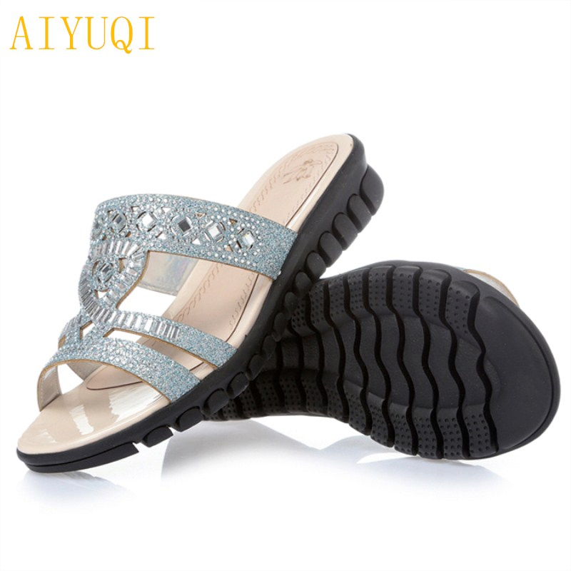 The Cheapest Price Aiyuqi 2019 New Summer Genuien Leather Women Sandal Hollow Mesh Fish Mouth Sandals Plus Size 41#42#43# Fashion Shoes Women Middle Heels Shoes