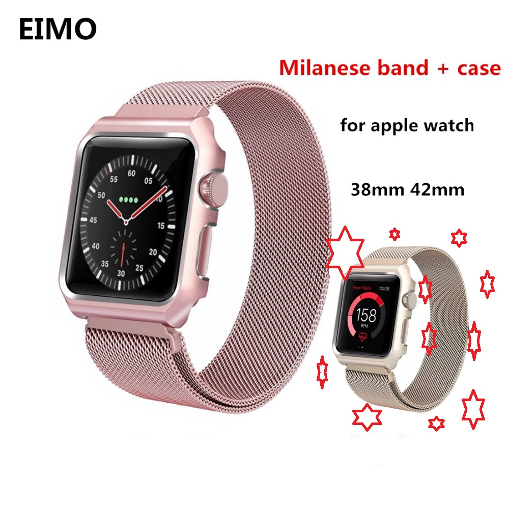 Milanese Loop strap+case For Apple Watch band 42mm/38mm Link Bracelet Stainless Steel watchband for iwatch series 3/2/1Milanese Loop strap+case For Apple Watch band 42mm/38mm Link Bracelet Stainless Steel watchband for iwatch series 3/2/1