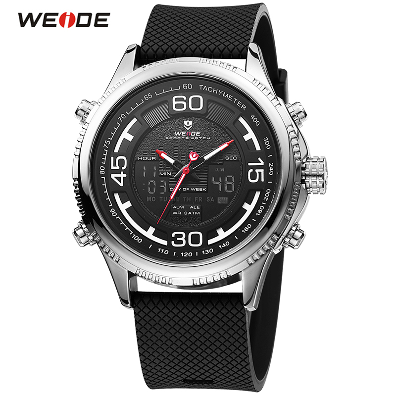 WEIDE Top Brand Luxury Classic Men Wrist Watch Week Date Display LED Digital Quartz Watch Sport Army Military Watch Male Clock weide casual luxury genuin new watch men quartz digital date alarm waterproof clock relojes double display multiple time zone