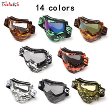 Triclicks Motocycle Sunglass Goggle Protective Gears Flexible Motorcycle Glasses Motocross MX Tinted UV Animal Face Mask