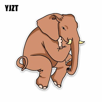 YJZT 14CM*15.5CM Thoughtful Elephants Graphical PVC Animal Car Sticker Decal 5-2042 image