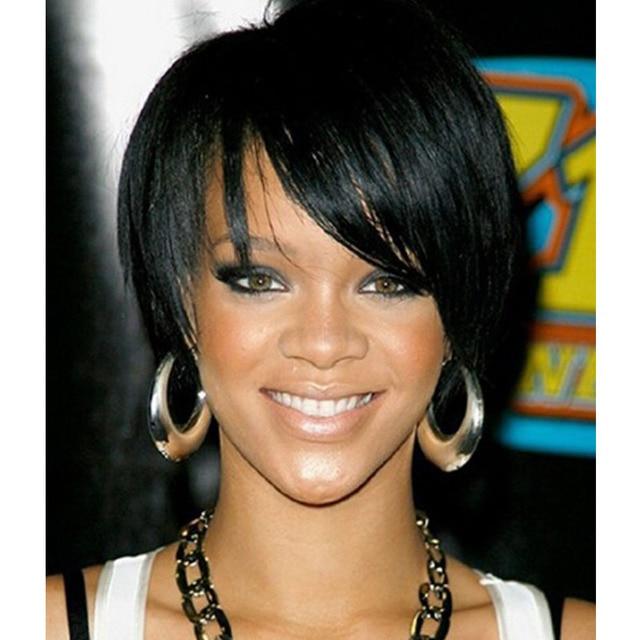 Celebrity Rihanna Lurus Gaya Rambut Warna Hitam Pendek Sintetis - Gaya rambut pendek rihanna