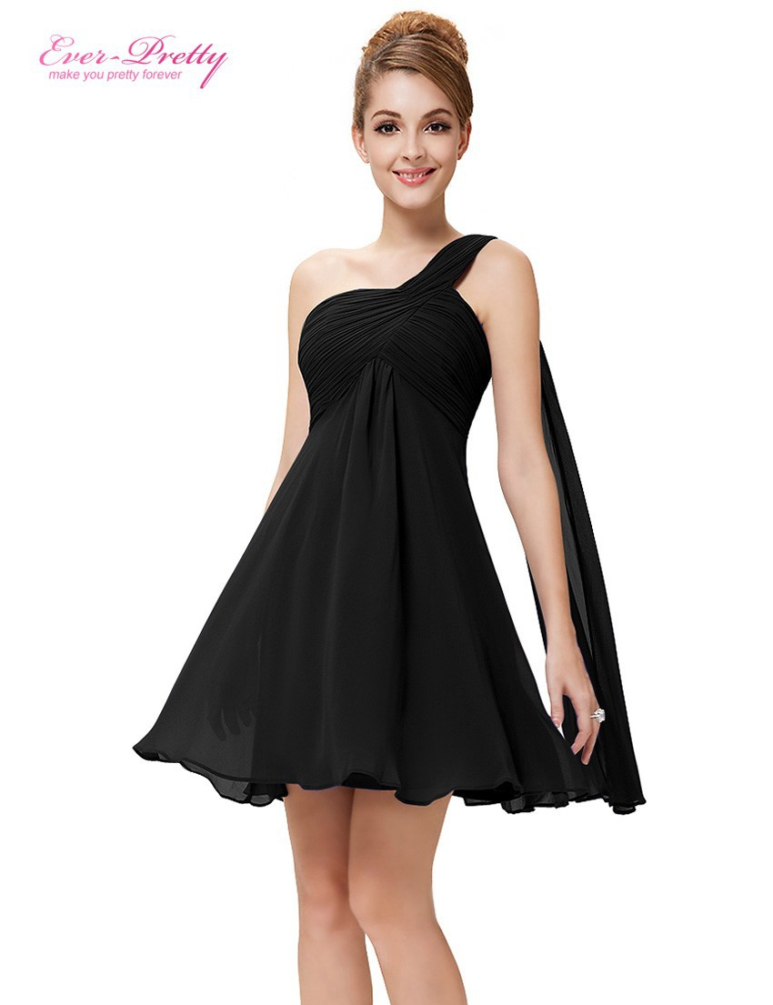 [Clearance Sale]   Cocktail     Dresses   Ever Pretty HE03537 One Shoulder Ruffles Padded Chiffon Short Vestido 2017   Cocktail     Dresses