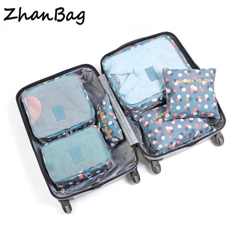 b703ec6ea83e 6 Pcs  set High Quality Oxford Mesh Cloth Travel Bag Organizer Luggage  Packing Cube Organizer