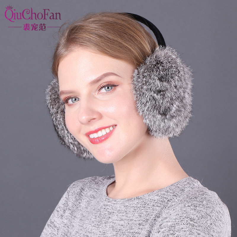 2019 Hot Sale Fashion Genuine Real Rabbit Fur Earmuff Women Winter Warm Soft Rabbit Fur Earmuffs Russia Girls Real Fur Earmuffs