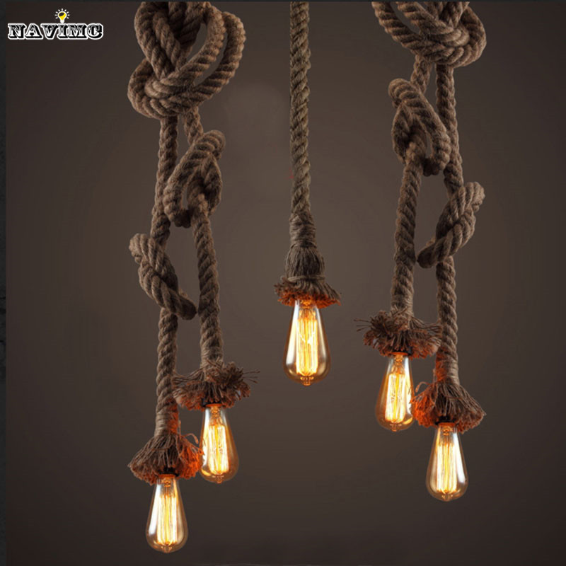 Retro Vintage Rope Pendant Light Lamp Loft Creative Personality Industrial Lamp American Style For Ding Living Room Restaurant retro vintage rope pendant light lamp
