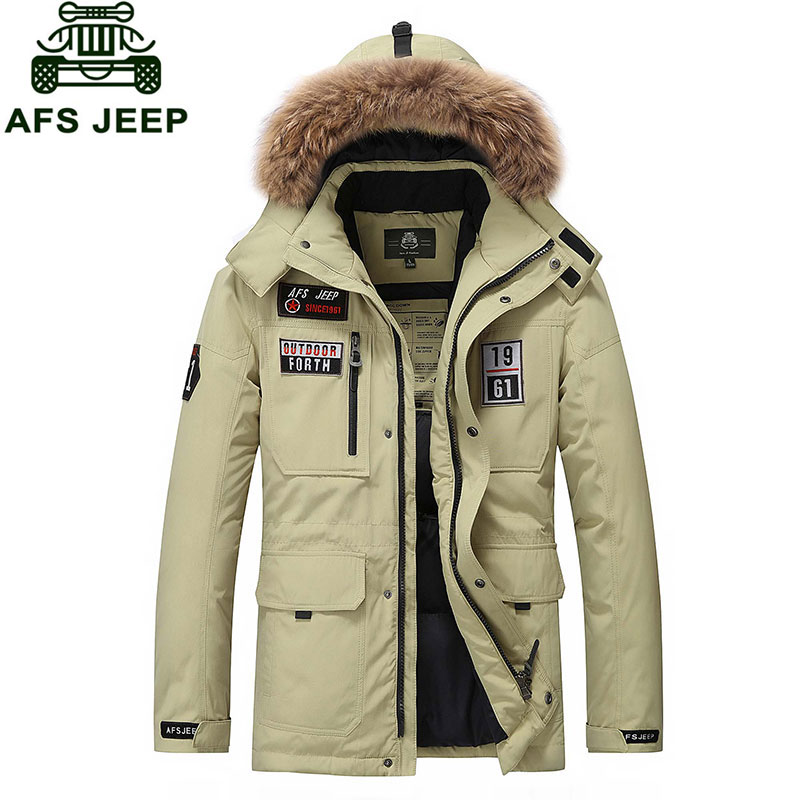 M~3XL Plus Size 2016 Autumn Winter Straight Men White Duck Down Jackets And Coat Fake Fur Collar Casual Brand-Clothes AFS JEEP