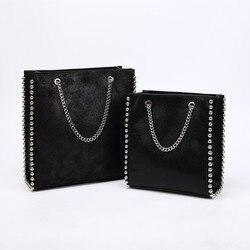 Cadeias Retro Rebite Sacola de Grande Capacidade Das Mulheres Sacos de Ombro Senhora Pendulares Saco PU Bolsas De Couro Sacos de Cor Sólida Talão bolsa