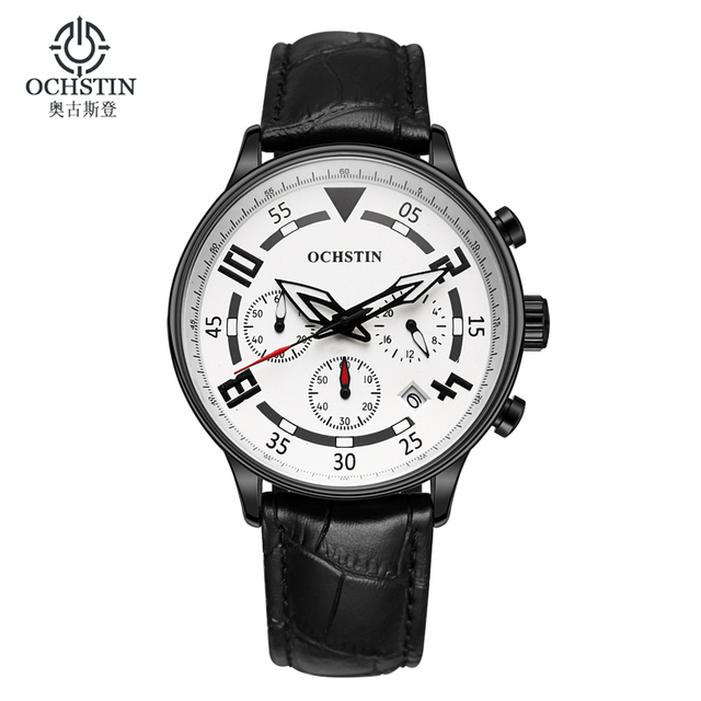Ochstin Chronograph Casual Watch Men Luxury Brand Quartz Military Sport Wrist Watch Genuine Leather Watch Men Relogio Masculino