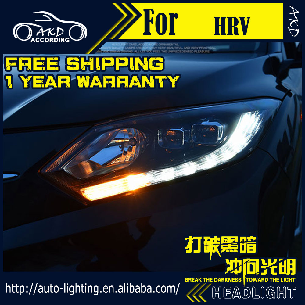 AKD Car Styling Head Lamp for <font><b>Honda</b></font> <font><b>HRV</b></font> LED <font><b>Headlight</b></font> 2016-2017 Vezel <font><b>Headlight</b></font> DRL H7 D2H Hid Option Angel Eye Bi Xenon Beam image