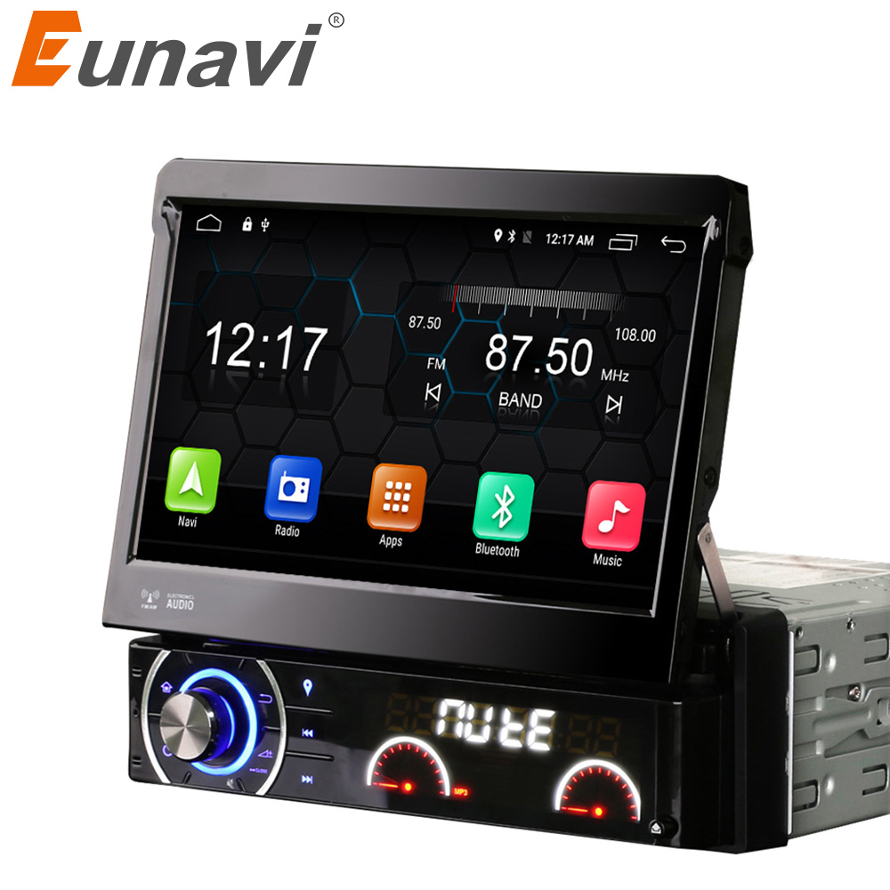 Eunavi 7 Inch 1 Din Car Dvd Player Android 4 4 4 Motorized Detachable 1080P Video