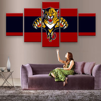 5 Panels Wests Tigers Sports Team Fans Oil Painting On Canvas Modern Home Pictures Prints Liveing