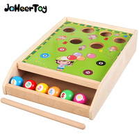 JaheerToy Wooden Toys Desktop Billiard Game Education Toy for Children Color and Digital Cognition Parent child Interaction