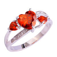 lingmei Wholesale Popular Heart Cut Garnet White Topaz Silver Ring Size 6 7 8 9 10 New Fashion Women Red Jewelry Free Shipping