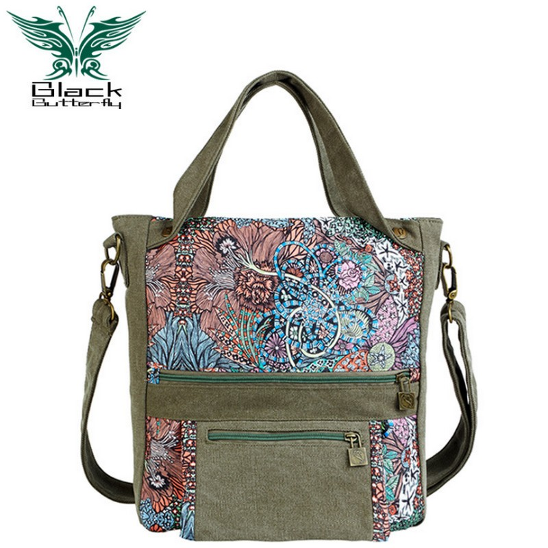 Black Butterfly original design Women handbag ethnic style Printing shoulder Bag female travel bag mom diaper bags black butterfly original design ethnic style women shoulder bag bohemian style printing tote bag women shopping handbags