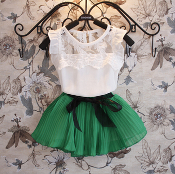 girls 2pcs sets,children fashion summer suit,vests+pleated skirts,chiffon,bow,lace embroidery,1-7 yrs,5 sets / lot,1405