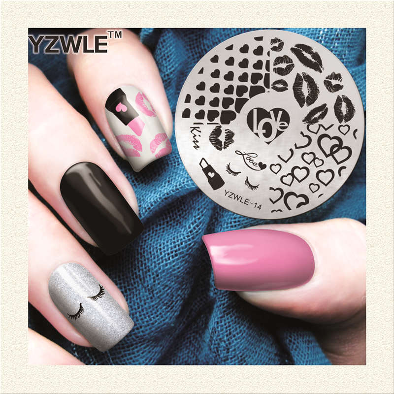 ④2018 nuevo Labios patrón Plantillas de manicura nail Stamper ...