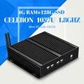 Fábrica preço competitivo CPU celeron C1037U 4 g ram DDR3 128 g ssd wifi liga de alumínio sem ventilador computador desktop