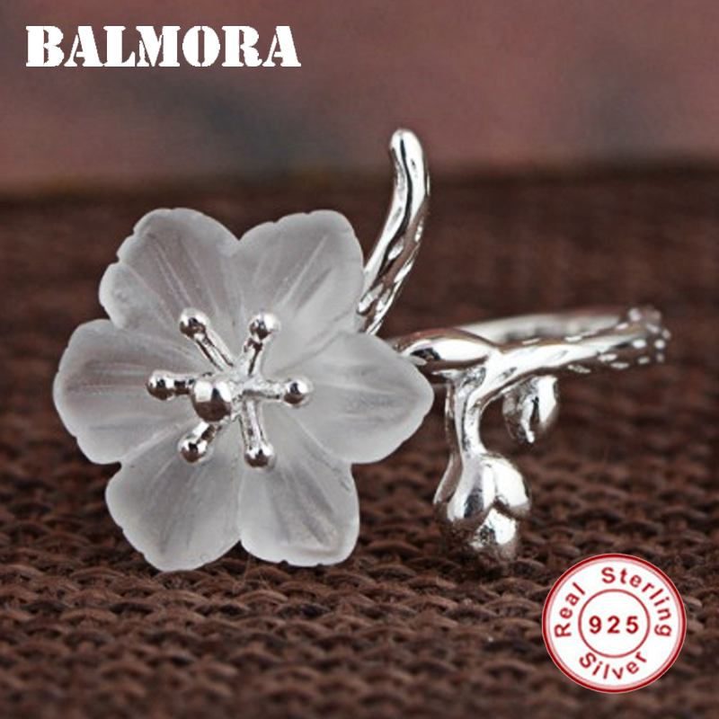 BALMORA Genuine 925 Sterling Silver White Crystal Flower Rings for Women Lover Party Wedding Gift Ring Jewelry Anillos SY21743