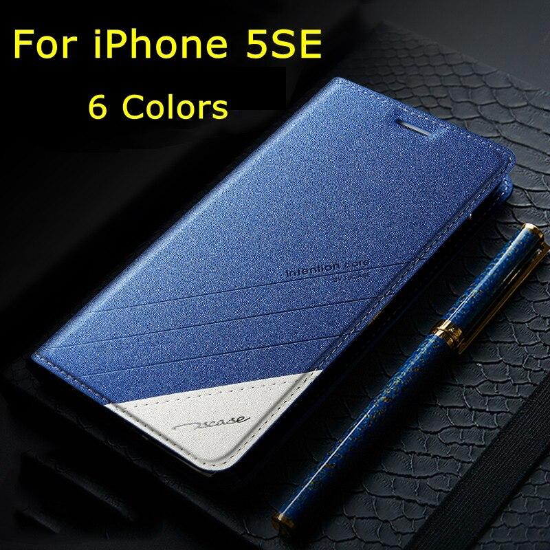 imágenes para Para el iphone de Apple SE Original Tscase Marca, de Alta Calidad Del Soporte Del Cuero Imán de la Cubierta del tirón Para el iphone de Apple 5 5S SÍ 4.0''