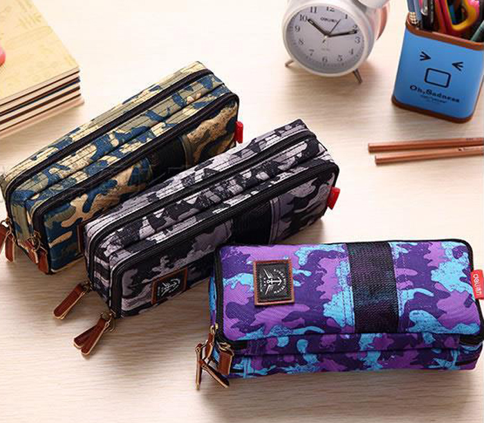 1pc big capacity canvas military school pencil case pen bag stationery pencil bags school supplies boys color random big capacity high quality canvas shark double layers pen pencil holder makeup case bag for school student with combination coded lock