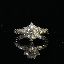 18K White Gold Ring 1ct 2ct 3ct Round Cut Classic Luxury Moissanite Diamond ring jewelry Wedding Excellent